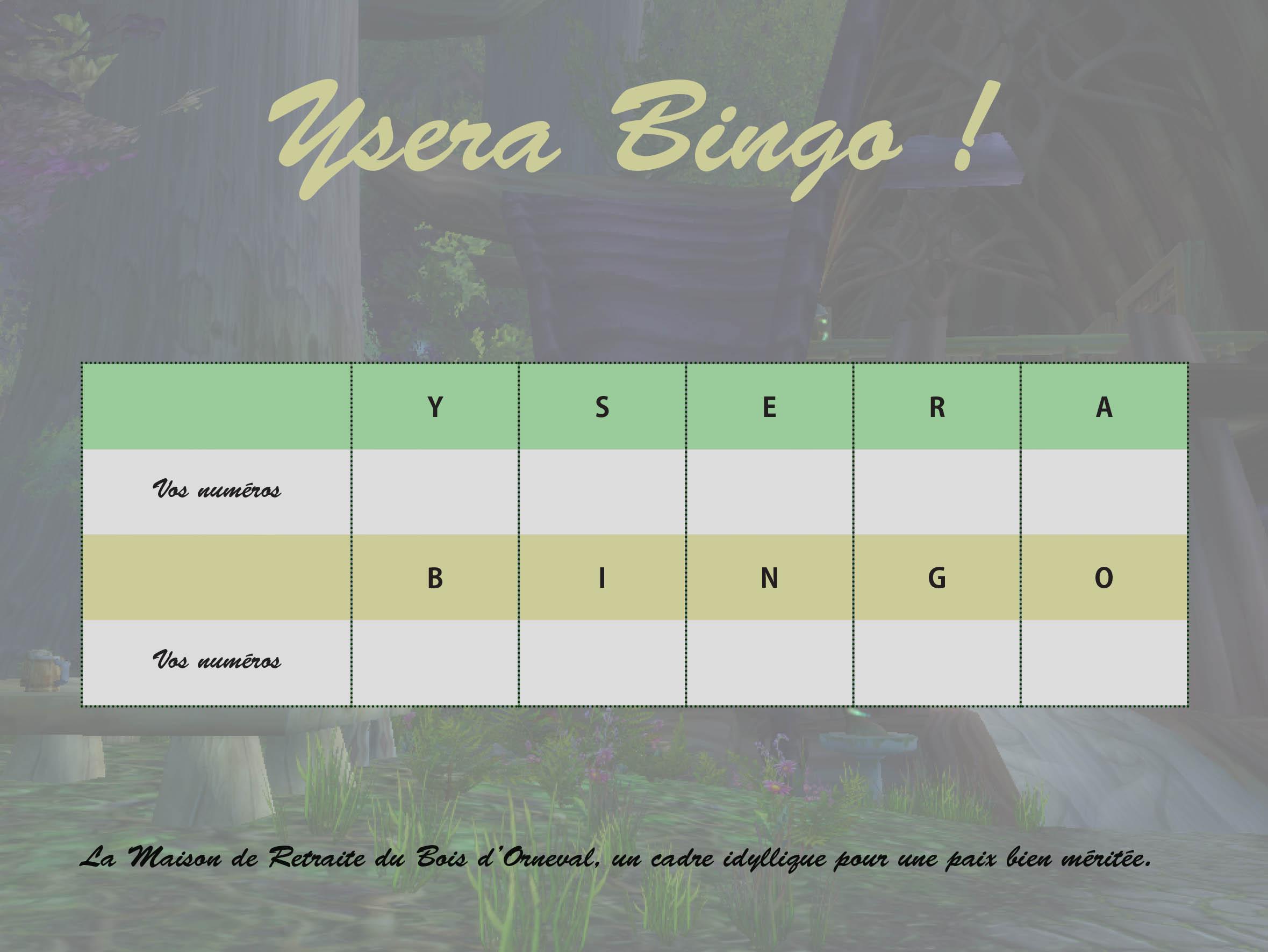 carte de jeu du bingo
